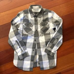 Boys Tony Hawk grey & white checkered button-down